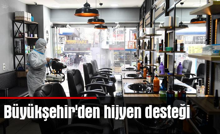 Büyükşehir'den berber,kuaför ve güzellik salonlarına hijyen desteği