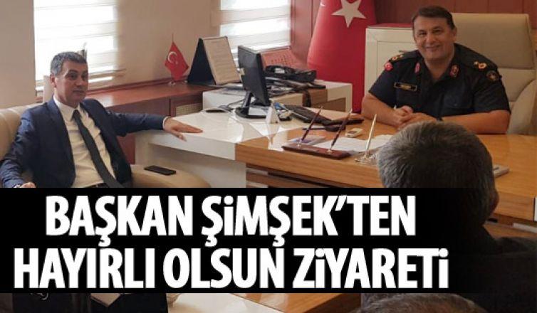 Başkan Şimşek'ten İlçe Jandarma Komutanı Binbaşı İnan Demir'e hayırlı olsun ziyareti
