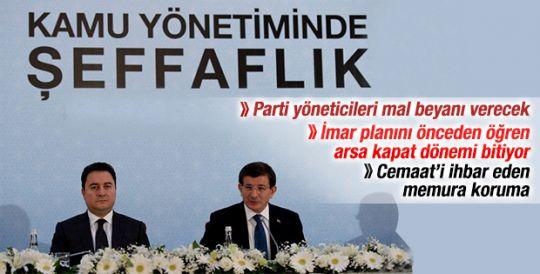 Davutoğlu Kamuda Şeffaflık Paketi'ni açıkladı