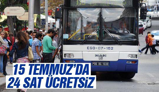 EGO otobüsleri 24 saat ücretsiz