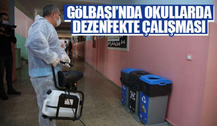 Gölbaşı Belediyesi korona virüse karşı okulları dezenfekte ediyor