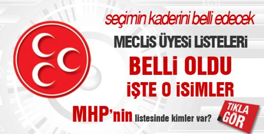 MHP 2014 yerel seçim Belediye Meclis Üyesi Aday Listesi