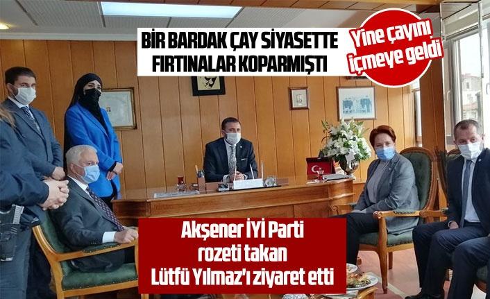 Akşener İYİ Parti rozeti takan Lütfü Yılmaz'ı ziyaret etti