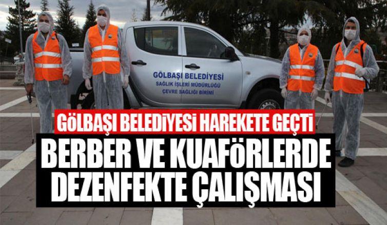 Gölbaşı Belediyesi berber ve kuaförlerde dezenfekte çalışmalarına başladı!