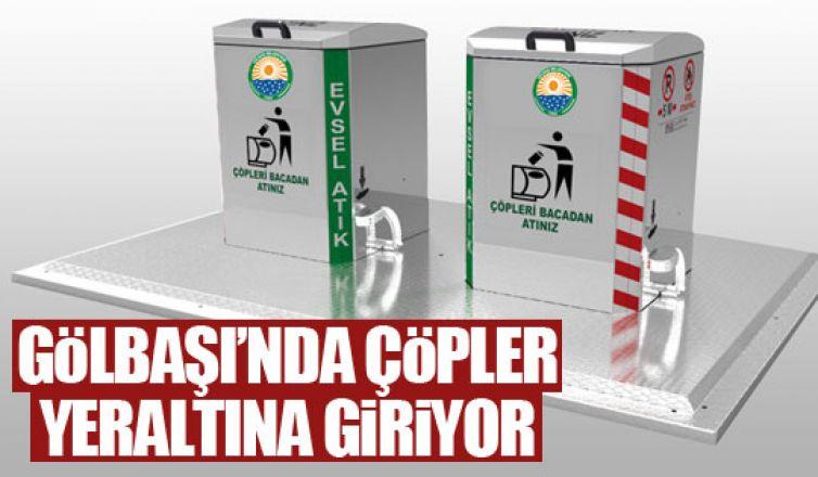 Gölbaşı Belediyesi yeraltı çöp konteynerı sistemine geçiyor!