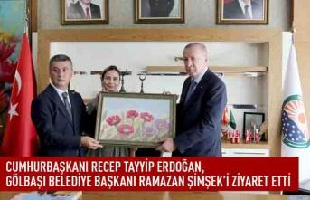 Cumhurbaşkanı Recep Tayyip Erdoğan, gölbaşı belediye başkanı Ramazan Şimşek'i ziyaret etti