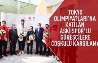 Tokyo Olimpiyatları'na katılan ASKİ spor'lu güreşçilere Ankara'da coşkulu karşılama
