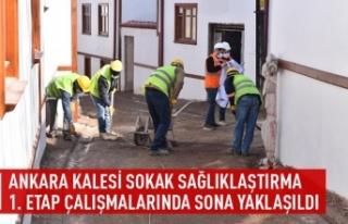 Ankara kalesi sokak sağlıklaştırma 1. etap çalışmalarında...