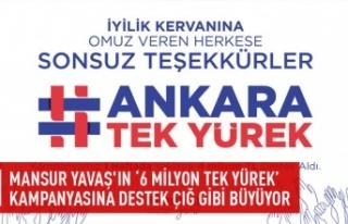 """6 Milyon Tek Yürek"""" kampanyasına büyük ilgi"""