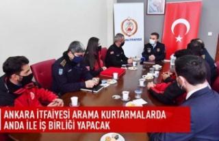 Ankara İtfaiyesi arama kurtarmalarda ANDA ile işbirliği...